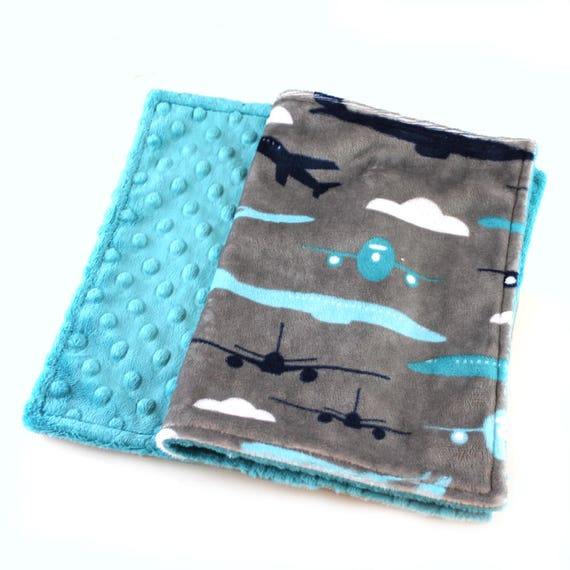 Boy Lovey Airplane Blanket, Personalized Baby Blanket, plane Mini Minky Baby Blanket, Gray Blue Minky Burp Cloth, Airplane Burp Cloth