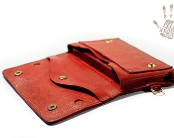 iPhone 6 leather wallet Genuine Leather Sleeve for use as a belt pouch banknote and cards col RED