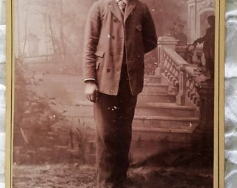 Cabinet Card Photo, Victorian Gent Fred Andrews, Ostlund Extra Finish Kansas