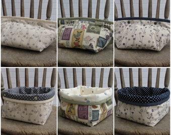 Fabric storage basket, mini / small storage bin / pot, choice of linen look fabrics, popper fastening, washable. reversible