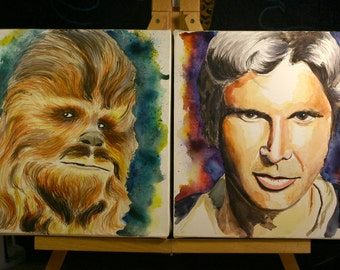 Watercolor portrait of Famous Duos - Star Wars - Han Solo and Chewbacca