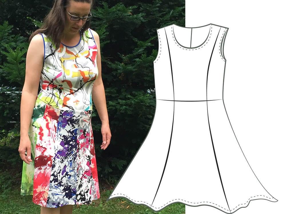 Kleid Größe 46-56 große Größen ärmellos Teilungsnähte