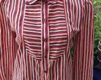 Vintage hipster kitsch 70s Jo Hardin of Dallas red, white, and blue secretary blouse size large free domestic shipping