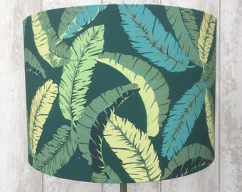 TROPICAL BANANA LEAVES Fabric covered lamp shade 15cm diamer up to 45cm diameter siz