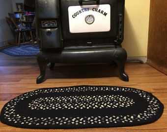 """Hand Braided Navy Blue, White and Plaid Oval Wool Rug, 39"""" x 19-1/2"""""""