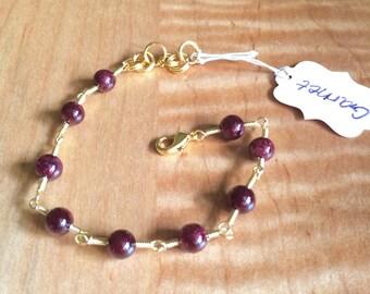 Garnet Wire Wrapped Bracelet