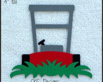 Die Cut Lawn Mower Premade Paper Piecing Embellishment for Card Making Scrapbook or Paper Crafts