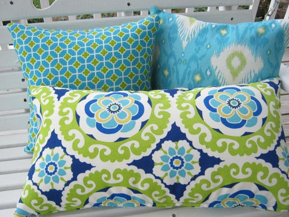blue lime green pillow cover outdoor patio porch decorative. Black Bedroom Furniture Sets. Home Design Ideas