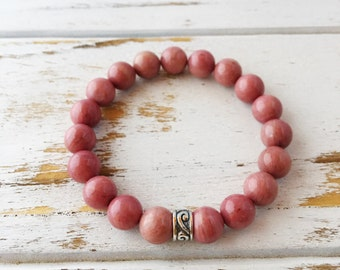 Genuine Rhodonite Bracelet, 4mm Rhodonite Bracelet, 6mm Rhodonite Bracelet, 8mm Rhodonite Bracelet, Love Bracelet, Beaded Bracelet