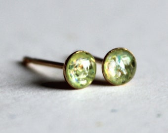 Light Peridot Green Opal Tiny Stud Earrings in 1.5mm, 2mm, 3mm, 4mm, 5mm and 6mm Sizes