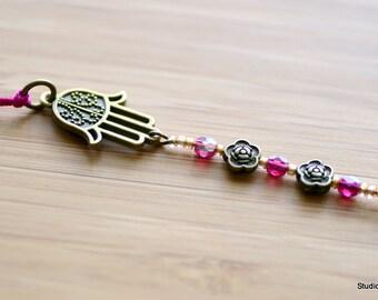 Rear view Mirror Accessories, Canada, Cute Car Accessory, Tassel, Hamsa Car Charm, Baby Shower Gift, Pink, Car bling charm