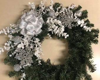 White and silver snowflake winter wreath