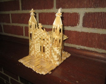 Vintage Modernist Woven Straw Figural Church Cathedral Religious Decor