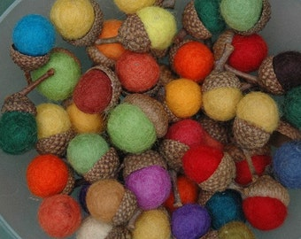 Wool Acorns-Handmade felted wool acorns
