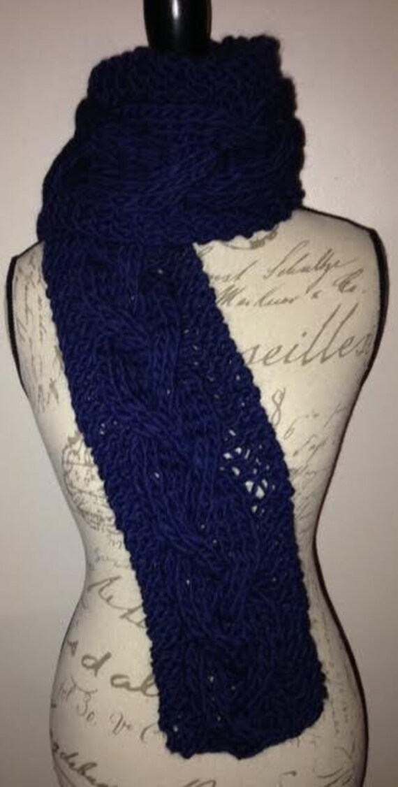 Chunky Braid Cabled Scarf Knitting PATTERN