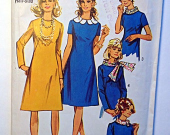 Simplicity 9223 Ladies dress with scarf and detachable collars Half Size 18 1/2 Vintage 1960's