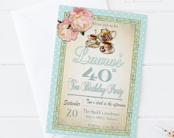 Tea Party Birthday Invitations / Printable, for Adult