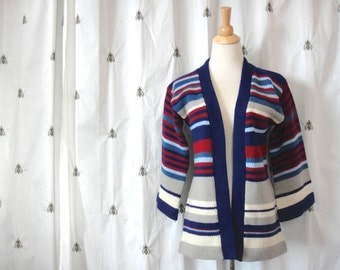 NOW ON SALE!  Vintage Boho Stripe Cardigan Chunky Knit Stripe Sweater, Navy, Red, Grey, White, Open Front, Bell Sleeves, Size Small