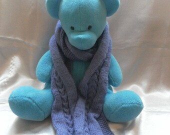Girl purple acrylic knit scarf
