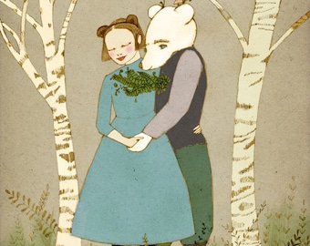 romantic Bear and Girl holding hands print of original illustration