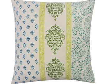Turquoise Vertical Stamp Cotton Pillow