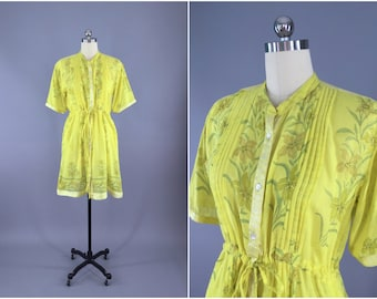 India Cotton Dress / Vintage Indian Cotton Sari / Shirtdress Summer Dress / Yellow Floral Print / Boho Bohemian Dress / Size XL