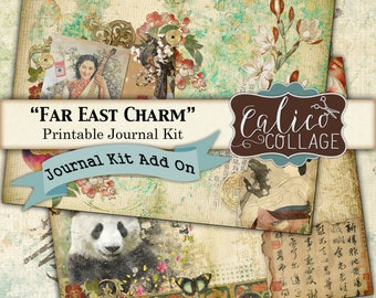 Printable, Journal Pages, Far East Charm, Printable Journal, Kit Add On, Oriental Ephemera, Journal Paper, Chinese, Japanese, Journal Cards