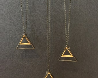 Geometric shapes 2 Triangles Long chain Necklace, handmade 925 Sterling silver plated black, mat gold