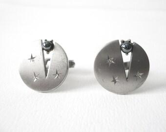 Mid Century Modernist Swank Round Sterling Silver Cufflinks Set With Hematite