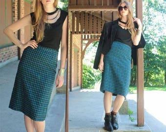 Modern Midi Pencil Skirt 60s Vintage BLUE CHECKED PLAIDS Weaved Wool High Waisted Woman Small Size Punk Rock Teddy Girls Retro School Skirts