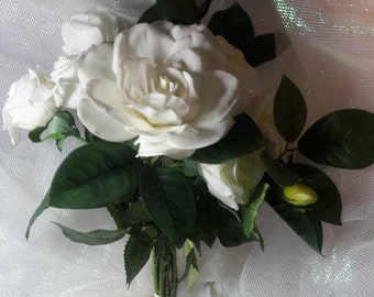 White Rose and Gardenia Bouquet, White Bouquet, White Bridal Bouquet, White Wedding Bouquet,Gardenia Bouquet,Rose Bouquet, Rose and Gardenia