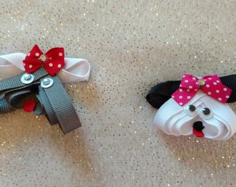 Pretty Puppy Ribbon Sculpture Hair Bow Clip