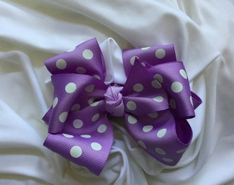 Purple and White Polka Dot Double Stacked Hair Bow