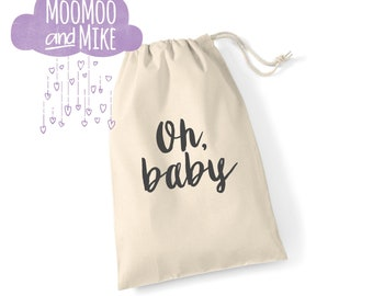 Gift bag | Oh baby drawstring gift bag | New baby gift bag | Baby shower gift bag