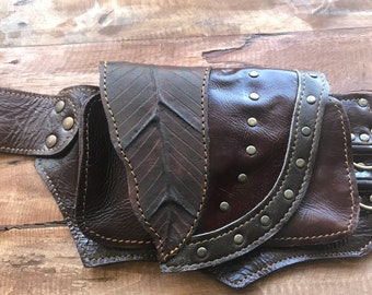 Double Leaf Leather Utility Belt
