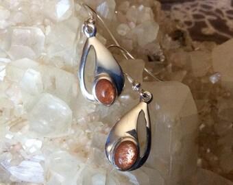 Sunstone leaf earrings. Genuine and fair trade.