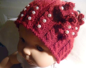 Red beads 3 to 6 month baby Hat