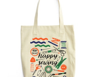 Gifts for Sewers, Gift for Seamstress, Sewing Gifts, Sewing Tote Bag, Sewer Tote, Happy Sewing, Canvas Tote Bag, Sewer Bag, Seamstress Tote,