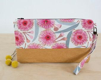 Floral clutch bag. Pink floral purse. Bridal party clutch. Washable paper bag. Wristlet clutch. Wristlet wallet. Gifts for her