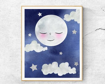 Blue Nursery Moon Art, Stars And Moon Watercolour Art, Watercolor Print, Nursery Art, Goodnight Moon, Hand Finished With Silver, Moon Art