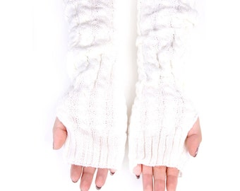 Fingerless Gloves, Long Arm Warmers, Cable Knit Long Gloves (White)