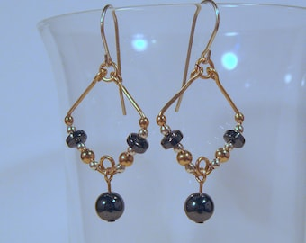 Gold Filled / Sterling Silver and Hematite Earrings