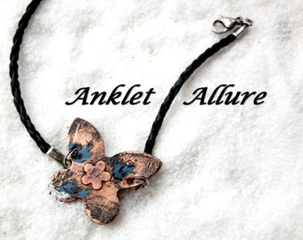 PAINTED Ankle Bracelet Butterfly Anklet STAMPED COPPER Anklets for Women Black Anklet