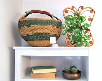 SOLD vintage african bolga basket , elephant grass market basket with leather handle