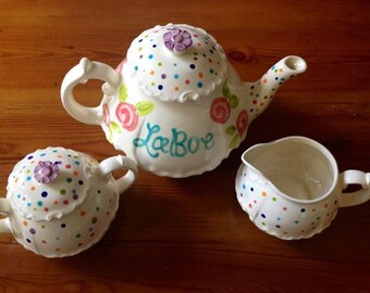 Large Adult Sized Handpainted Personalized Ceramic Tea Set - teapot, creamer and sugar bowl