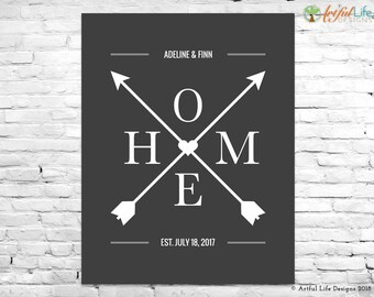 ANNIVERSARY GIFT, Wedding Gift, Gift for Couple, Housewarming Gift, New Home Gift, Digital Printable, Family Name, Home Arrows Name Wall Art