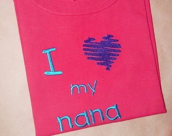 I Heart My Nana Embroidery Design