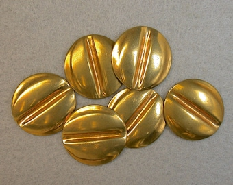 Vintage Brass STAMPING ROUND New Old Stock Grooved 18mm pkg6 m88
