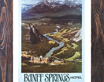 Canadian Banff Springs Hotel Vintage Ad, Travel Ad, Canadian Rockies Travel Ad, Vintage Art,  Giclee Art Print, fine Art Reproduction