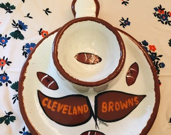 Vintage Hand Painted Cleveland Browns Chip and Dip Bowl